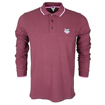 Kenzo Tiger Crest Long Sleeve Burgundy Polo Shirt