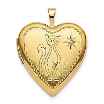 925 Sterling Silver Gold Flashed 20mm Diamond Cat Heart Locket Jewelry Gifts for Women - .01 dwt