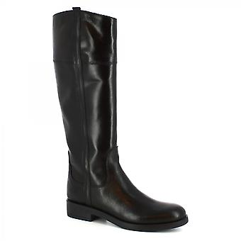 Leonardo Shoes Women's handmade knee high boots in black leather with side zip