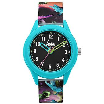 Hype | Dinosaur Print Siliconen band | Zwarte wijzerplaat | HYK008BU Horloge