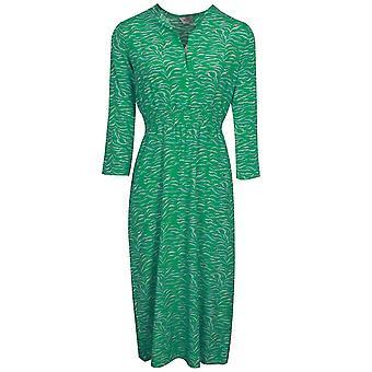 Primrose Park Tiffany Green Tiger Print Silk Blend Long Sleeve Midi Dress