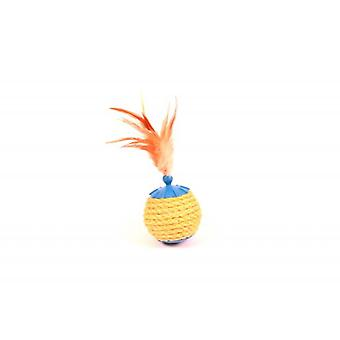 Duvo+ Cat toy Sisal Ball With Feathers 19 X 8 Cm (Cats , Toys , Plush & Feather Toys)