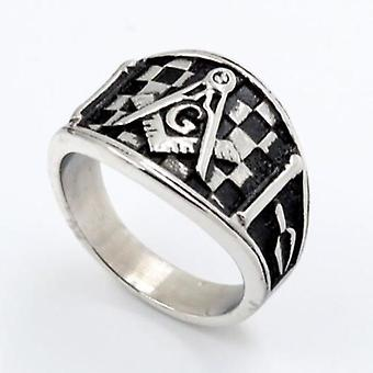 Checkered square compass masonic ring