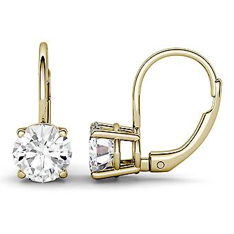 14K Yellow Gold Moissanite by Charles & Colvard 6.5mm Round Leverback Earrings, 2.00cttw DEW