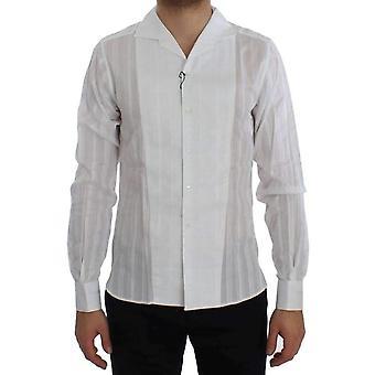Dolce & Gabbana White Striped Cotton Slim GOLD Shirt -- SIG2790341
