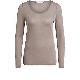 Oui Camel Metallic Top