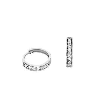 Earrings Skinny Hoops Full Diamonds and 18K Gold - White Gold