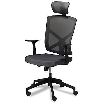 Chaise de bureau Furnhouse Nova, Tissu gris foncé, Base en plastique, 63x65x115-125 cm