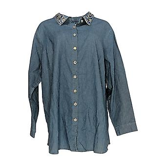 Quacker Factory Women's Plus Top Button Front Denim Tunic Blue A341778