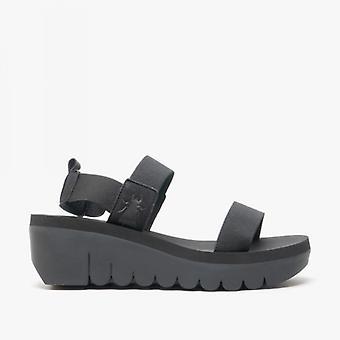 Fly London Yaci594fly Ladies Elastic Wedge Heel Sandals Black