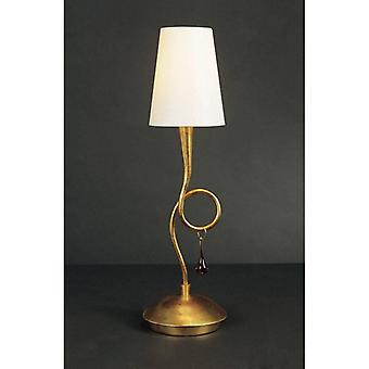 Paola Table Lamp 1 E14 Bulb, Gold Painted With Cream Shade & Amber Glass Droplets