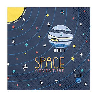 Space Paper Party Napkins Blue with Planets and Stars x20 Birthday
