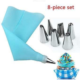8 Piece Set Cake Tools - 6 Stainless Steel Nozzles And Silicone EVA Pastry Bag Converter