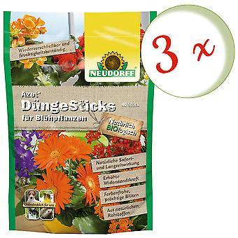 Sparset: 3 x NEWDORFF Azet® FertilizerSticks for flowering plants, 40 sticks