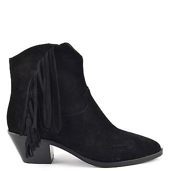 Ash FARROW BIS Fringed Black Suede Boots