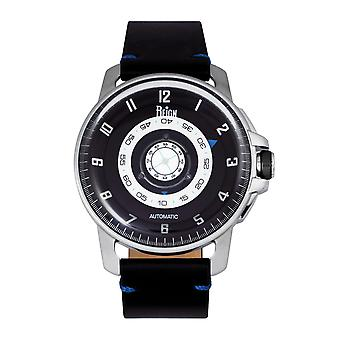 Reign Monarch Automatic Domed Leather-Band Watch - Silver/Black