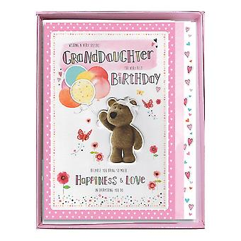 ICG Ltd Granddaughter The Very Best Birthday Boxed Large Barley Bear With Balloons Card