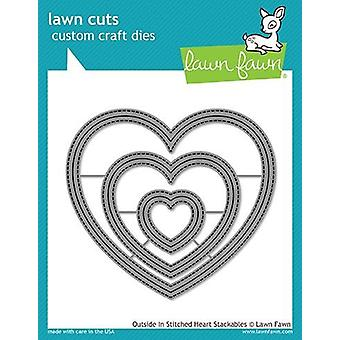 Lawn Fawn Cutting Dies - Outside In Stitched Heart Stackables