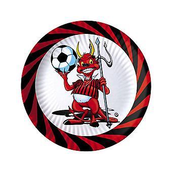Little Devil Soccer 18cm Papier Party Platten