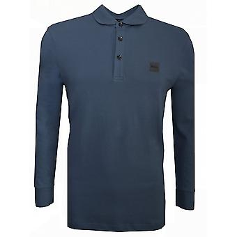 Hugo Boss Casual Slim Fit Grey/ Niebieska koszulka polo z długim rękawem z długim rękawem