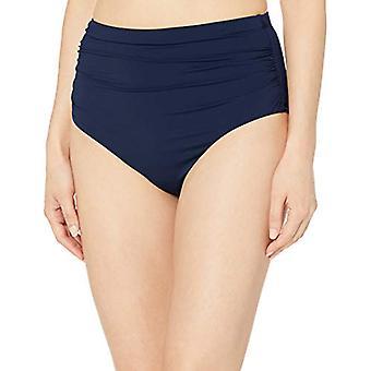 Chaps Women's Core Solids Shirred High Waisted Pant Bikini Bottom, Navy, 18