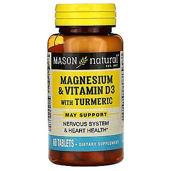 Mason Natural, Magnesium & Vitamin D3 with Turmeric, 60 Tablets
