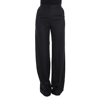 Dolce & Gabbana Black Striped Wool High Waist Pants SIG20080-1