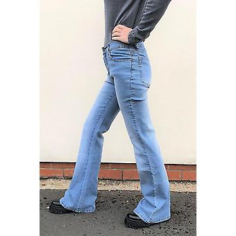 Mid Rise Faded Stretch Denim Wide Flared Bellbottom Jeans