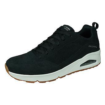 Skechers Uno Hombres Casual Ante Entrenadores / Zapatos - Negro