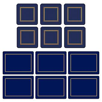 Pimpernel Classic Midnight Blue Placemats and Coasters Set of 6