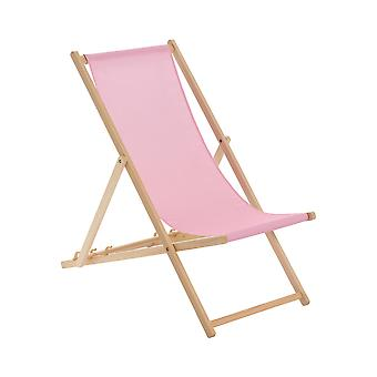 Wooden Deck Chair - Traditional Beach Style Adjustable Folding Chair - Light Pink