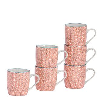 Nicola Spring 6 Piece Geometric Patterned Tea and Coffee Mug Set - Small Porcelain Cappuccino Cups - Coral - 280ml