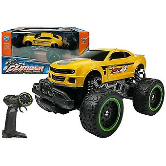 RC-offroad car - with high wheels and remote control - yellow