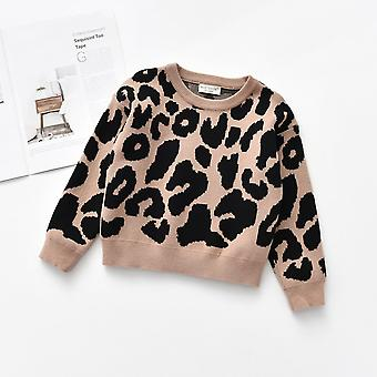 Leopard strikket genser Casual langermet's topper, småbarn gutt / jente klær