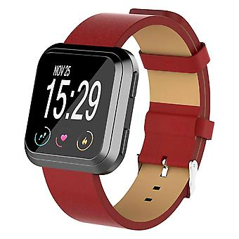For Fitbit Versa 2/Versa/ Lite Genuine Leather Band Replacement Wristband Strap[Red]
