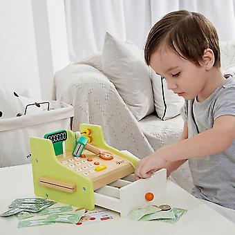 Classic World - Children's Wooden Cash Register Pretend Play Supermarket Shop Till Educational Role Play