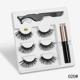 5 Natural Long Magnetic, False Eyelashes With Magnetic Eyeliner