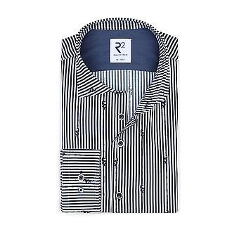 R2 Panda Patterned Shirt Navy Stripe