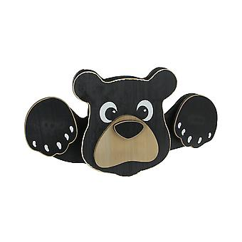 Adorable Wooden Peeking Black Bear Fence Topper Outdoor Lodge Decor 18 Inches Long