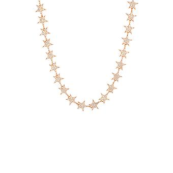 Pink White Star CZ Gemstone Bridal Jewellery Rose Gold Strand Choker Necklace