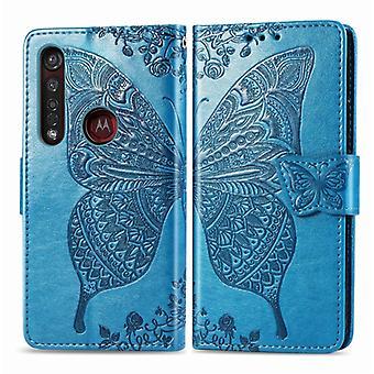 لموتو G8 زائد الفراشة حب زهرة منقوش أفقي الوجه الجلود حالة مع قوس / فتحة بطاقة / محفظة / Lanyard (الأزرق)