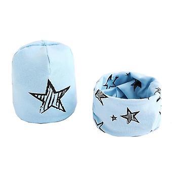 Plyšová čepice šátek set, kreslené hvězdy, baby cap