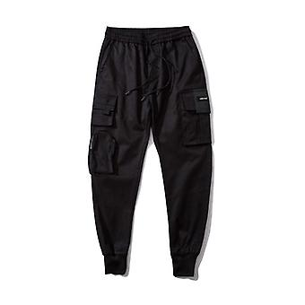 Side Zipper Pockets Cargo Harem Joggers Pants, Men Hip Hop Streetwear