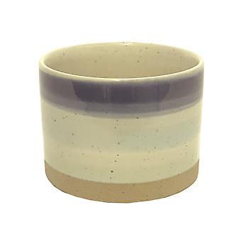 Blue Striped Ceramic Planter