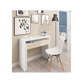 Escritorio extensible - 2 cajones - 88 x 99 x 36 cm - Blanco/Roble