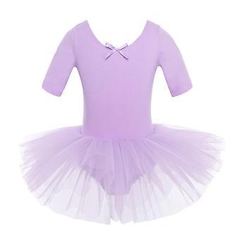 Half Sleeves Cotton Dance Ballet Dress, Gymnastics Dancewear