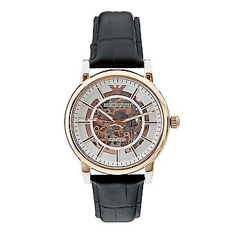 Armani Ar60007 Skeleton Stainless Steel Rose Gold-plated Automatic Leather Strap Watch