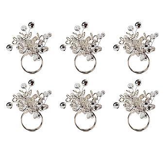 Dii Silver Multi Bead Napkin Ring (Set Of 6)