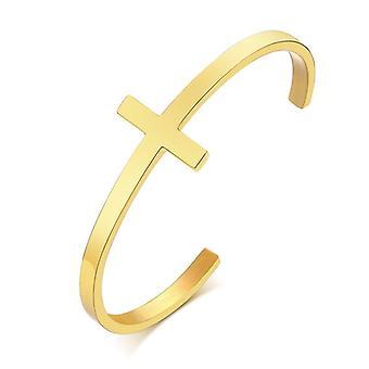 Bracelet de manchette en croix argentée, acier inoxydable, bracelet de manchette ouvert