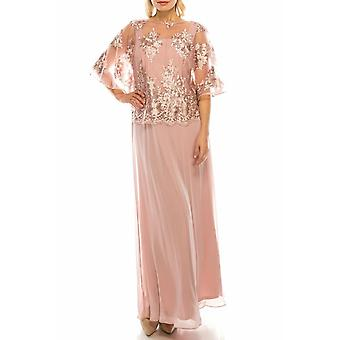 Evening Gown With Embroidered Mesh Overlay Top